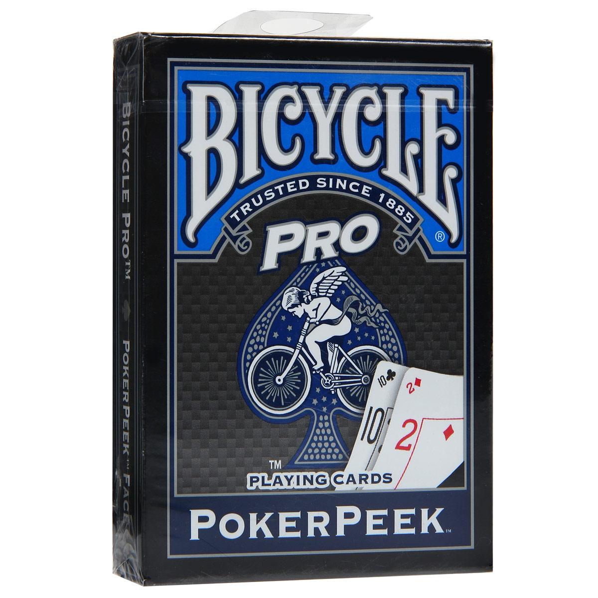 Карты игральные Bicycle Pro Poker Peek, цвет: синий, 54 карты. 9113с9113сИгральные карты Байсикл Про ПокерПик с рубашкой синего цвета подходят для игры в покер. Крупный индекс в двух углах. Карты имеют очень гладкую поверхность, высококачественный пластик и стандартный размер poker.