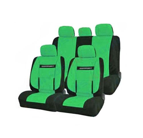 Набор ортопедических авточехлов Autoprofi Comfort, велюр, цвет: черный, зеленый, 11 предметов. Размер M. COM-1105 BK/GREEN (M)COM-1105 BK/GREEN (M)Эргономичные авточехлы Comfort обладают анатомической формой с объемной боковой поддержкой спины и поясничным упором, которые обеспечивают наиболее удобную осанку водителя и переднего пассажира, снижая усталость от многочасовых поездок. В качестве внешнего материала в чехлах Comfort используется жаропрочный велюр, который не электризуется и не выцветает на солнце. Широкая гамма расцветок чехлов позволяет подобрать их практически к любому оформлению салона автомобиля. Основные особенности авточехлов Comfort: - боковая поддержка спины; - 3 молнии в спинке заднего ряда; - 3 молнии в сиденье заднего ряда; - карманы в спинках передних сидений; - поясничный упор; - использование с боковыми airbag; - толщина поролона: 5 мм; - предустановленные крючки на широких резинках. Комплектация: - 1 сиденье заднего ряда; - 1 спинка заднего ряда; - 2 сиденья переднего ряда; - 2 спинки переднего...