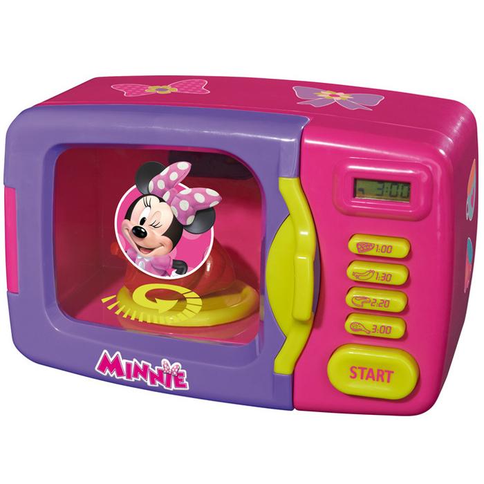 Simba Микроволновая печь Minnie Mouse, цвет: розовый, фиолетовый4735140C микроволновой печью Minnie Mouse ваша малышка сможет почувствовать себя настоящим кулинаром. Микроволновка выполнена из безопасного пластика розового и сиреневого цветов и снабжена четырьмя кнопками для приготовления блюд, дисплеем, показывающим время приготовления, кнопкой Start и, конечно, открывающейся дверцей. Внутри находится круглая подставка для еды. При нажатии на кнопку Start в печи включится лампочка, подставка начнет вращаться, при этом будут слышны характерные звуки работы печи. По истечению времени нагревания раздастся звуковой сигнал, и свет внутри печи погаснет. В комплект входит муляж в виде курочки. С такой печью все игрушки будут накормлены вкусной едой. Порадуйте своего ребенка таким великолепным подарком!