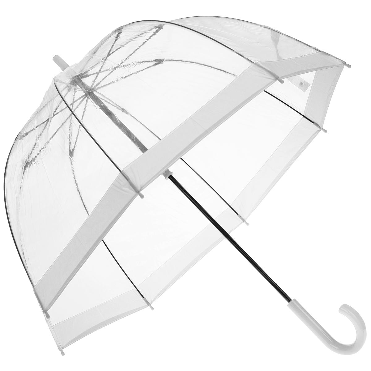 Зонт-трость женский Bird cage, механический, цвет: прозрачный, белыйL041 3F002Стильный куполообразный зонт-трость Bird cage, закрывающий голову и плечи, даже в ненастную погоду позволит вам оставаться элегантной. Каркас зонта выполнен из 8 спиц из фибергласса, стержень изготовлен из стали. Купол зонта выполнен из прозрачного ПВХ. Рукоятка закругленной формы разработана с учетом требований эргономики и изготовлена из пластика. Зонт имеет механический тип сложения: купол открывается и закрывается вручную до характерного щелчка. Такой зонт не только надежно защитит вас от дождя, но и станет стильным аксессуаром. Характеристики: Материал: ПВХ, сталь, фибергласс, пластик. Диаметр купола: 89 см. Цвет: прозрачный, белый. Длина стержня зонта: 84 см. Длина зонта (в сложенном виде): 94 см. Вес: 540 г. Артикул: L041 3F002.