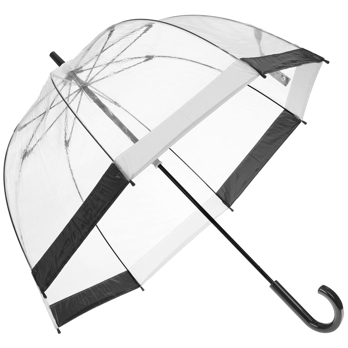 Зонт-трость женский Bird cage, механический, цвет: прозрачный. L041 1F090L041 1F090Стильный куполообразный зонт-трость Bird cage, защищающий голову и плечи, даже в ненастную погоду позволит вам оставаться элегантной. Каркас зонта выполнен из 8 спиц из фибергласса, стержень изготовлен из стали. Купол зонта выполнен из прозрачного ПВХ. Рукоятка закругленной формы разработана с учетом требований эргономики и изготовлена из пластика. Зонт имеет механический тип сложения: купол открывается и закрывается вручную до характерного щелчка. Такой зонт не только надежно защитит вас от дождя, но и станет стильным аксессуаром.