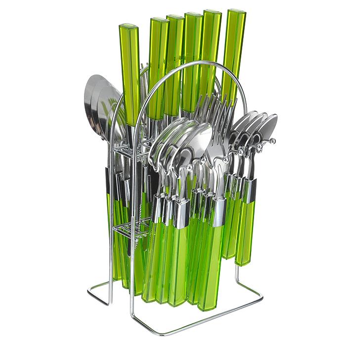 Набор столовых приборов Mayer&Boch, цвет: салатовый, 25 предметов. 20686-120686-1 салатовыйНабор столовых приборов Mayer & Boch выполнен из прочной полированной нержавеющей стали и высококачественного пластика. В набор входят 6 столовых ложек, 6 вилок, 6 чайных ложек и 6 ножей. Приборы имеют оригинальные удобные ручки с пластиковыми вставками салатового цвета. Прекрасное сочетание яркого дизайна и удобства использования предметов набора придется по душе каждому. Изделия расположены на металлической подставке, что удобно для хранения набора прямо на столе или столешнице. Набор столовых приборов Mayer & Boch подойдет как для ежедневного использования, так и для торжественных случаев. Характеристики: Материал: нержавеющая сталь, пластик. Цвет: салатовый. Длина ножа: 22,5 см. Длина столовой ложки: 20 см. Длина вилки: 21 см. Длина чайной ложки: 16 см. Размер подставки (ДхШхВ): 12,5 см x 12 см x 23 см. Размер упаковки: 15 см x 13,5 см x 28 см. Артикул: 20686-1 .