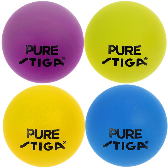 Шарики для настольного тенниса Stiga Pure, 4 шт284228Мячи Pure Color Advance включают в себя розовый, желтый, голубой и зеленый целлулоидные мячи для настольного тенниса диаметром 40 мм.
