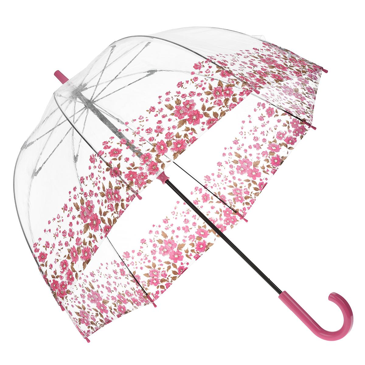 Зонт-трость женский Floral Border, механический, цвет: розовыйL042 3F2643Стильный куполообразный зонт-трость Floral Border, закрывающий голову и плечи, даже в ненастную погоду позволит вам оставаться элегантной. Каркас зонта выполнен из 8 спиц из фибергласса, стержень изготовлен из стали. Купол зонта выполнен из прозрачного ПВХ и оформлен цветочным узором. Рукоятка закругленной формы разработана с учетом требований эргономики и изготовлена из пластика. Зонт имеет механический тип сложения: купол открывается и закрывается вручную до характерного щелчка. Такой зонт не только надежно защитит вас от дождя, но и станет стильным аксессуаром. Характеристики: Материал: ПВХ, сталь, фибергласс, пластик. Диаметр купола: 89 см. Цвет: розовый. Длина стержня зонта: 84 см. Длина зонта (в сложенном виде): 94 см. Вес: 540 г. Артикул: L042 3F2643.