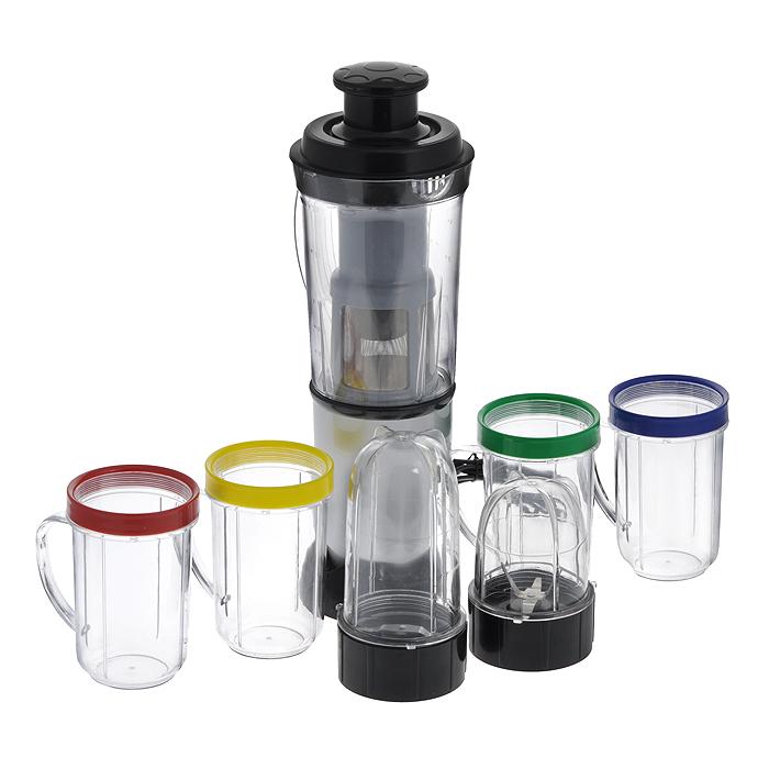 Комбайн кухонный Bradex Мультимикс, 21 предметTD 0037Кухонный комбайн Bradex Мультимикс, выполненный из пищевого пластика, предназначен для ежедневного приготовления разнообразных блюд. Комбайн включает в себя: - база; - высокая колба; - низкая колба; - двойной нож (резка лука, чеснока, перца; сбивание коктейлей и шейкеров; смешивание продуктов для выпечки тортов и пирогов; измельчение хлеба, сыра и шоколада; приготовление пюре и каш; измельчение льда, замороженных фруктов; рубка мяса, птицы); - одинарный нож (помолка кофейных зерен; измельчение орехов; взбивание сливок; взбивание яичных белков; приготовление майонезов и других соусов); - 2 крышки для стакана; - 4 стакана с цветным кольцом; - 2 крышки с отверстиями; - кувшин-блендер; - крышка для кувшина-фильтра; - центральная часть крышки; - фильтр; - пестик фильтра. Используя многофункциональный кухонный комбайн Мультимикс, вы приготовите и завтрак, и обед, и ужин! Мультимикс способен сделать...
