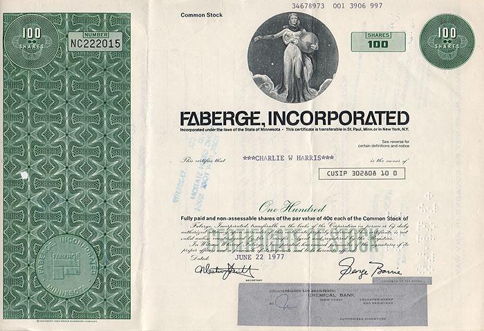 Ценная бумага Faberge Incorporated. Сертификат на 100 акций. США, 1977 годF30 BLUEЦенная бумага Faberge Incorporated. Сертификат на 100 акций. США, 1977 год. Размер 20,5 х 30,5 см. Сохранность хорошая. Вертикальные складки.
