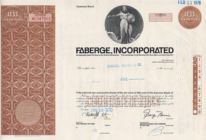 Ценная бумага Faberge Incorporated. Сертификат на 5 акций. США, 1970 годF30 BLUEЦенная бумага Faberge Incorporated. Сертификат на 5 акций. США, 1970 год. Размер 20,5 х 30,5 см. Сохранность хорошая.