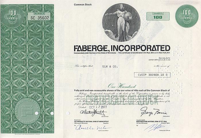Ценная бумага Faberge Incorporated. Сертификат на 100 акций. США, 1972 годF30 BLUEЦенная бумага Faberge Incorporated. Сертификат на 100 акций. США, 1972 год. Размер 20,5 х 30,5 см. Сохранность хорошая.