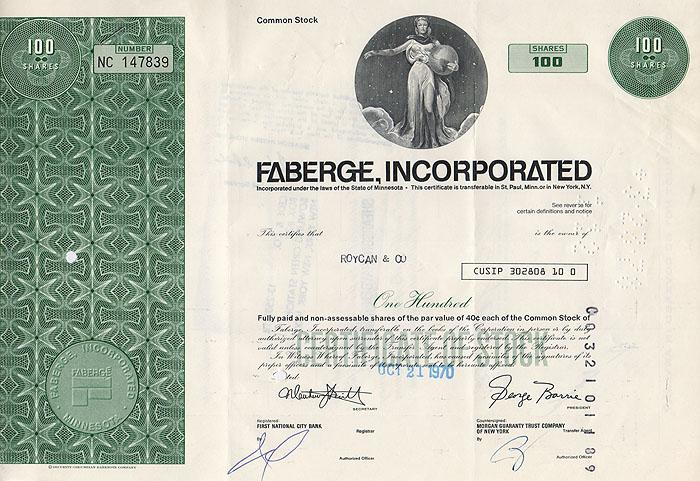 Ценная бумага Faberge Incorporated. Сертификат на 100 акций. США, 1970 годF30 BLUEЦенная бумага Faberge Incorporated. Сертификат на 100 акций. США, 1970 год. Размер 20,5 х 30,5 см. Сохранность хорошая. Вертикальные складки.