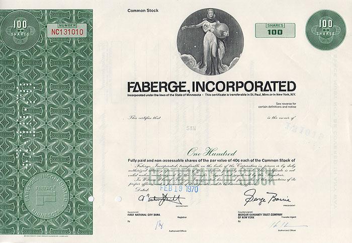 Ценная бумага Faberge Incorporated. Сертификат на 100 акций. США, 1970 годF30 BLUEЦенная бумага Faberge Incorporated. Сертификат на 100 акций. США, 1970 год. Размер 20,5 х 30,5 см. Сохранность хорошая.