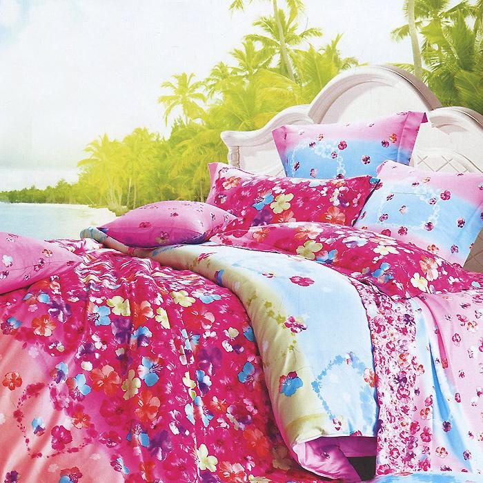Комплект белья Виконт (2-х спальный КПБ, макосатин люкс, наволочки 50х70), цвет: розовый, голубойМСЛ2/9-13005/50Комплект постельного белья Виконт, изготовленный из сатина класса люкс, поможет вам расслабиться и подарит спокойный сон. Постельное белье имеет изысканный внешний вид и обладает яркостью и сочностью цвета. Комплект состоит из пододеяльника на молнии, простыни с широкой подгибкой и двух наволочек. Благодаря такому комплекту постельного белья вы сможете создать атмосферу уюта и комфорта в вашей спальне. Сатин производится из высших сортов хлопка, а своим блеском, легкостью и на ощупь напоминает шелк. Такая ткань рассчитана на 200 стирок и более. Постельное белье из сатина превращает жаркие летние ночи в прохладные и освежающие, а холодные зимние - в теплые и согревающие. Благодаря натуральному хлопку, комплект постельного белья из сатина приобретает способность пропускать воздух, давая возможность телу дышать. Одно из преимуществ материала в том, что он практически не мнется и ваша спальня всегда будет аккуратной и нарядной. Характеристики: Изготовитель (КПБ):...