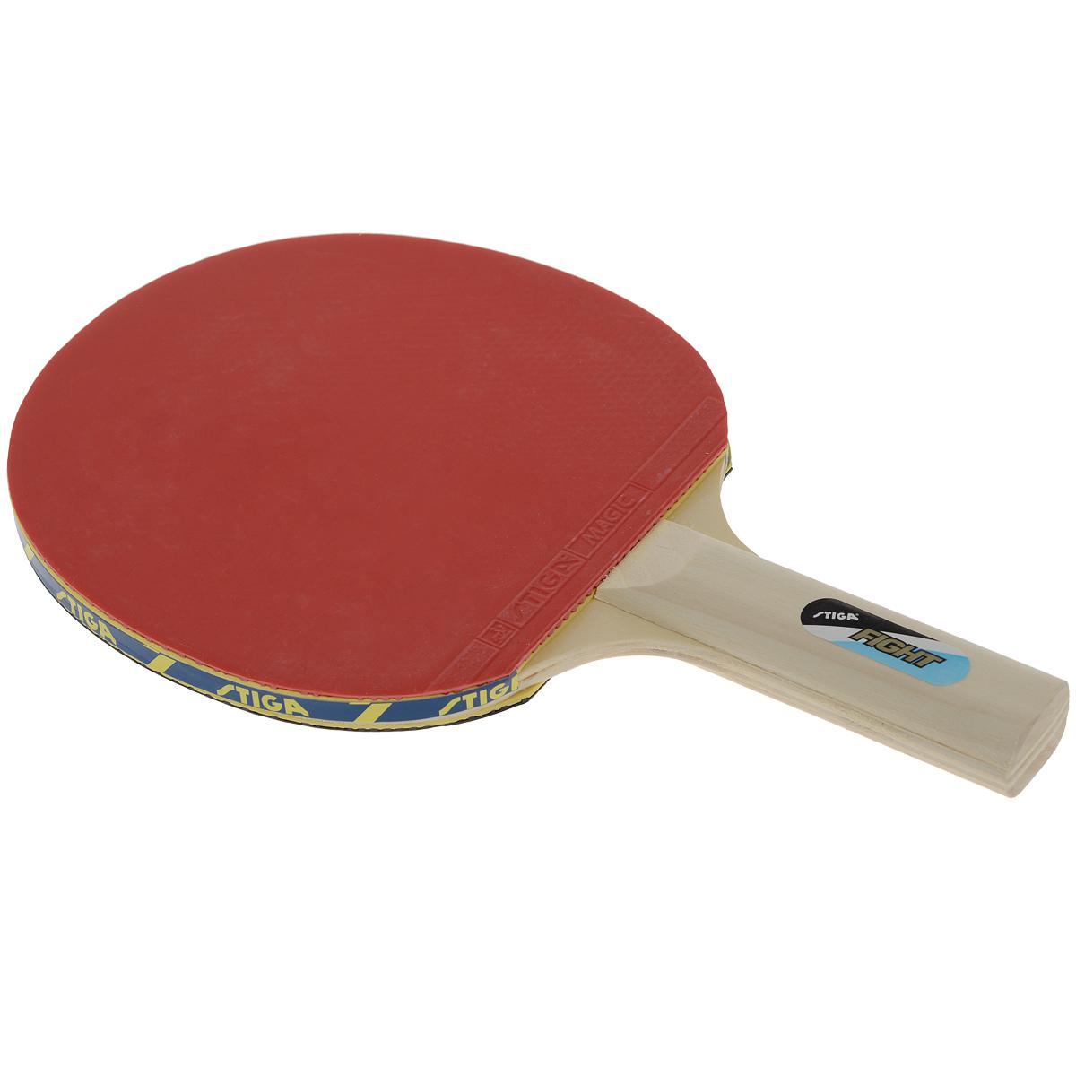 Ракетка для настольного тенниса Stiga Fight24928Ракетка для настольного тенниса Stiga Fight – прекрасный выбор для любителя. Пятислойное основание в тандеме с накладкой Magic 1,5 мм дает возможность игроку получить 100% чувство мяча, благодаря которому он сможет заложить основу для развития своего мастерства. Основные характеристики: Контроль: 100. Скорость: 15. Кручение: 30.