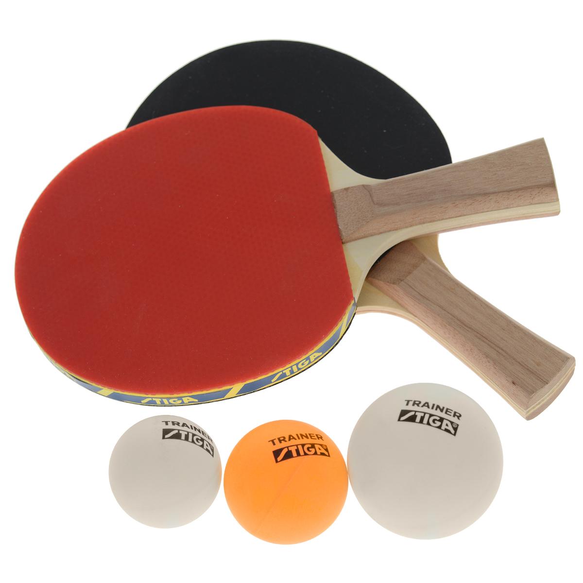 Набор для настольного тенниса Stiga Technique, 5 предметов86128Выбирая для своего ребенка детский настольный теннис в качестве развивающего вида спорта, вы принимаете удачное решение. Особенно сильно на успешность тренировок в первое время будет влиять правильность подобранной ракетки. Приобретая набор Technique, включающий в себя 2 ракетки и 3 мяча, вы не только даете ребенку возможность играть в теннис со своими друзьями, но и подбираете в первую очередь идеально сбалансированное для детской руки изделие.