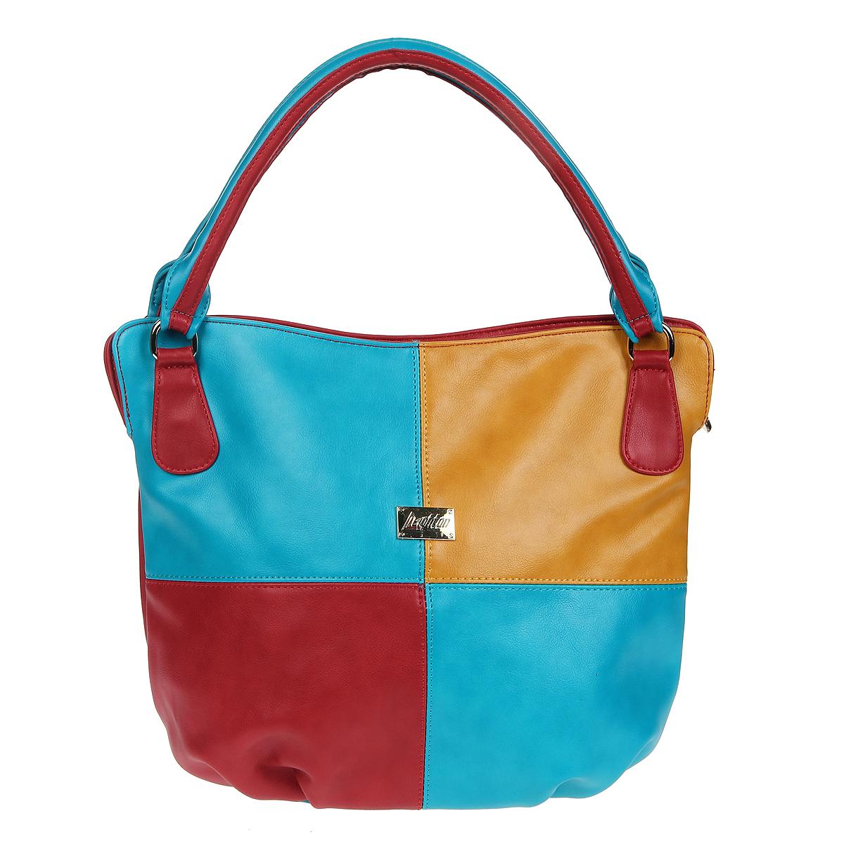 Сумка женская Leighton, цвет: красный, голубой, горчичный. 78609-1589/17/1589/20/15878609-1589/17/1589/20/158Оригинальная женская сумка Leighton выполнена из искусственной кожи красного, голубого и горчичного цветов. Сумка состоит из одного вместительного отделения, закрывающегося на застежку-молнию. Внутри - смежный карман на молнии, вшитый кармашек на молнии и два накладных открытых кармана для мелочей и телефона. На задней стенке сумки расположен вшитый карман на молнии. Сумка оснащена двумя удобными ручками. Сумка - это стильный аксессуар, который подчеркнет вашу изысканность и индивидуальность и сделает ваш образ завершенным. Женская сумочка Leighton - это воплощение элегантности и шика. Высококачественные материалы, чистота линий, как выбор стиля, идут об руку с модными тенденциями. Обладательницей данной коллекции может быть только сильная и независимая женщина, бросающая вызов обыденности. Характеристики: Материал: искусственная кожа, текстиль, металл. Цвет: красный, голубой, горчичный. Размер сумки: 38 см х 29 см х 13 см. ...
