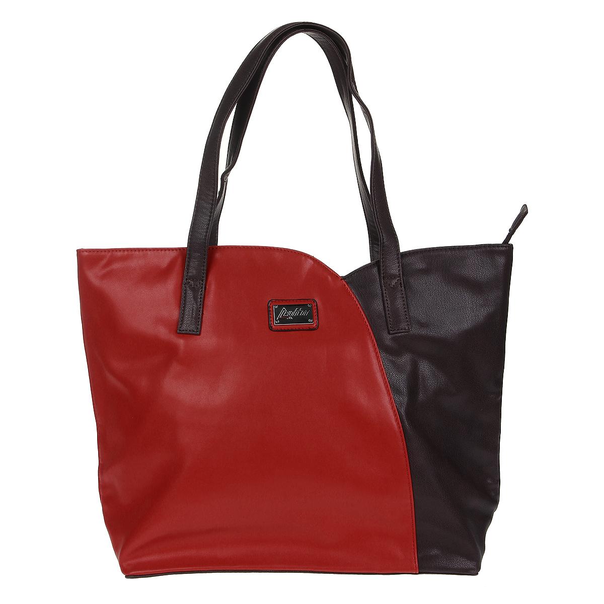 Сумка женская Leighton, цвет: бордовый, красный. 510369-339/19/275/15510369-339/19/275/15Стильная женская сумка Leighton выполнена из мягкой искусственной кожи бордового цвета с красными вставками. К сумке прикреплен оригинальный брелок с логотипом фирмы. Сумка имеет одно основное отделение, которое закрывается на застежку-молнию. Внутри - смежный карман на молнии, вшитый карман на молнии и два накладных кармашка для телефона и мелочей. С задней стороны сумки расположен дополнительный вшитый карман на молнии. Сумка оснащена двумя удобными ручками. На дне сумки расположены ножки для лучшей устойчивости. Фурнитура - серебристого цвета. Стильная сумка Leighton станет финальным штрихом в создании вашего неповторимого образа. Женская сумочка Leighton - это воплощение элегантности и шика. Высококачественные материалы, чистота линий, как выбор стиля, идут об руку с модными тенденциями. Обладательницей данной коллекции может быть только сильная и независимая женщина, бросающая вызов обыденности.