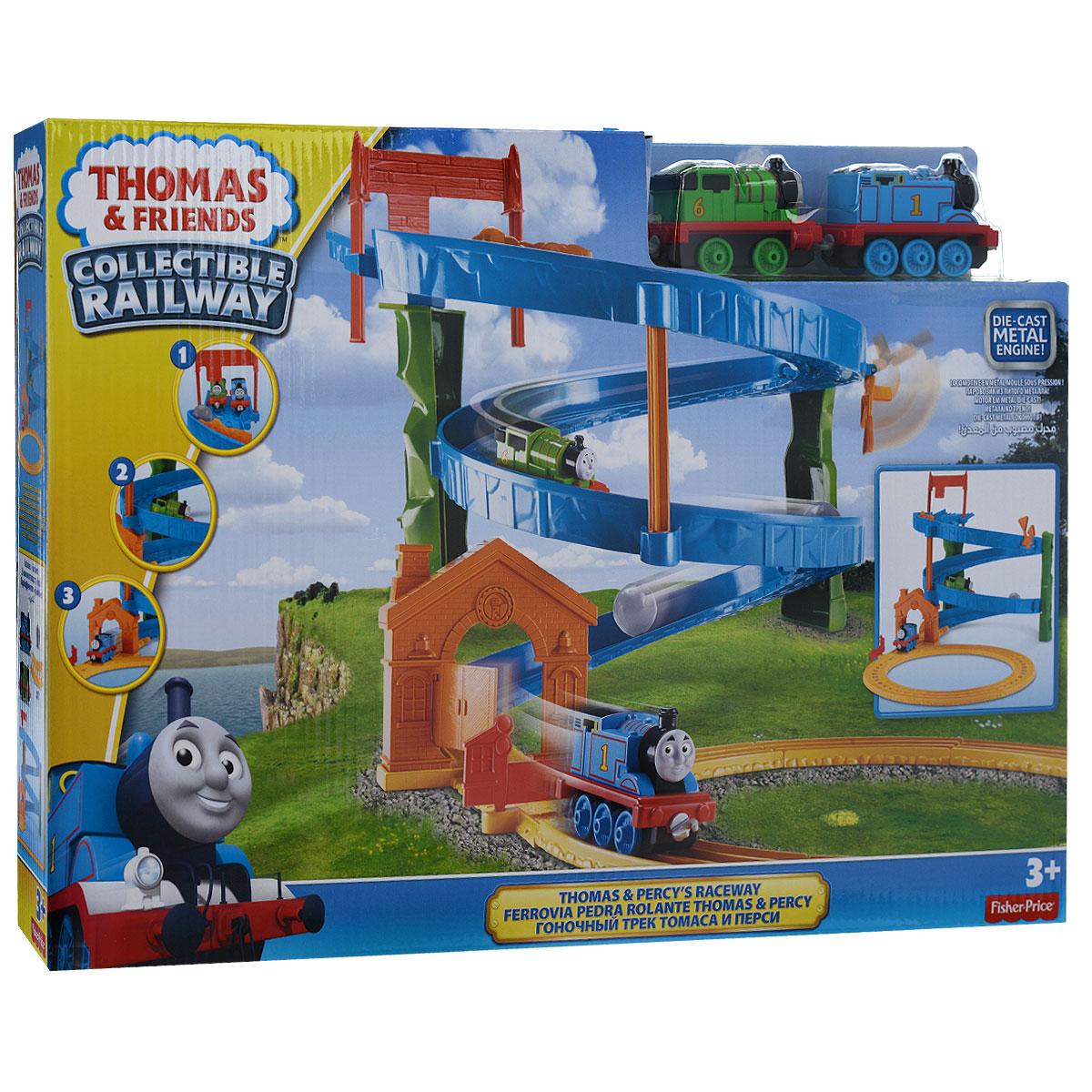 Thomas&Friends Игровой набор Скоростной спуск Томаса и ПерсиBHR97Игровой набор Thomas&Friends Скоростной спуск Томаса и Перси привлечет внимание вашего ребенка и не позволит ему скучать. Томас и Перси находятся на вершине карьера и готовы к гонке! Один из них едет первым, но их скорость слишком высока, и за ними по рельсам начинает катиться гигантский валун! Томас и Перси сбивают предупреждающие знаки и стремятся к финишной линии. Они преодолевают финишную черту и едва избегают столкновения с валуном, объезжая его по разворотному пути. В набор входят элементы для сборки спиралевидного спуска с воротами наверху и внизу, элементы для объездного пути со стрелкой, паровозики Томас и Перси, которые легко скрепляются между собой, и валун. Ваш ребенок часами будет играть с набором, придумывая разные истории!