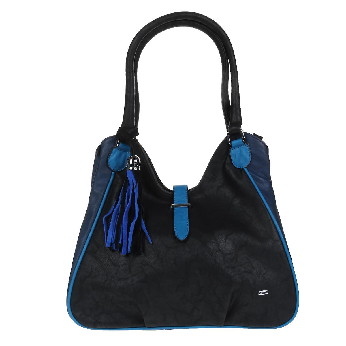 Сумка женская Leighton, цвет: черный, синий. 520293-1112520293-1112/101/1112/706/Стильная сумка Leighton выполнена из искусственной кожи черного цвета с отделкой из синей экокожи. Сумка имеет одно основное отделение, закрывающееся на застежку-молнию и дополнительно на хлястик. Внутри - смежный карман на молнии, два открытых накладных кармана и вшитый карман на молнии. На задней стенке сумки расположен дополнительный карман на молнии. Сумка оснащена двумя удобными ручками, позволяющими носить ее на плече. Ручка сумки декорирована подвеской в виде кисточки. Фурнитура серебристого цвета. Модная сумка подчеркнет ваш яркий стиль и сделает образ модным и завершенным. Характеристики: Материал: искусственная кожа, металл, текстиль. Цвет: черный, синий. Размер сумки: 34 см х 32 см х 14 см. Высота ручек: 22 см. Артикул: 520293-1112.