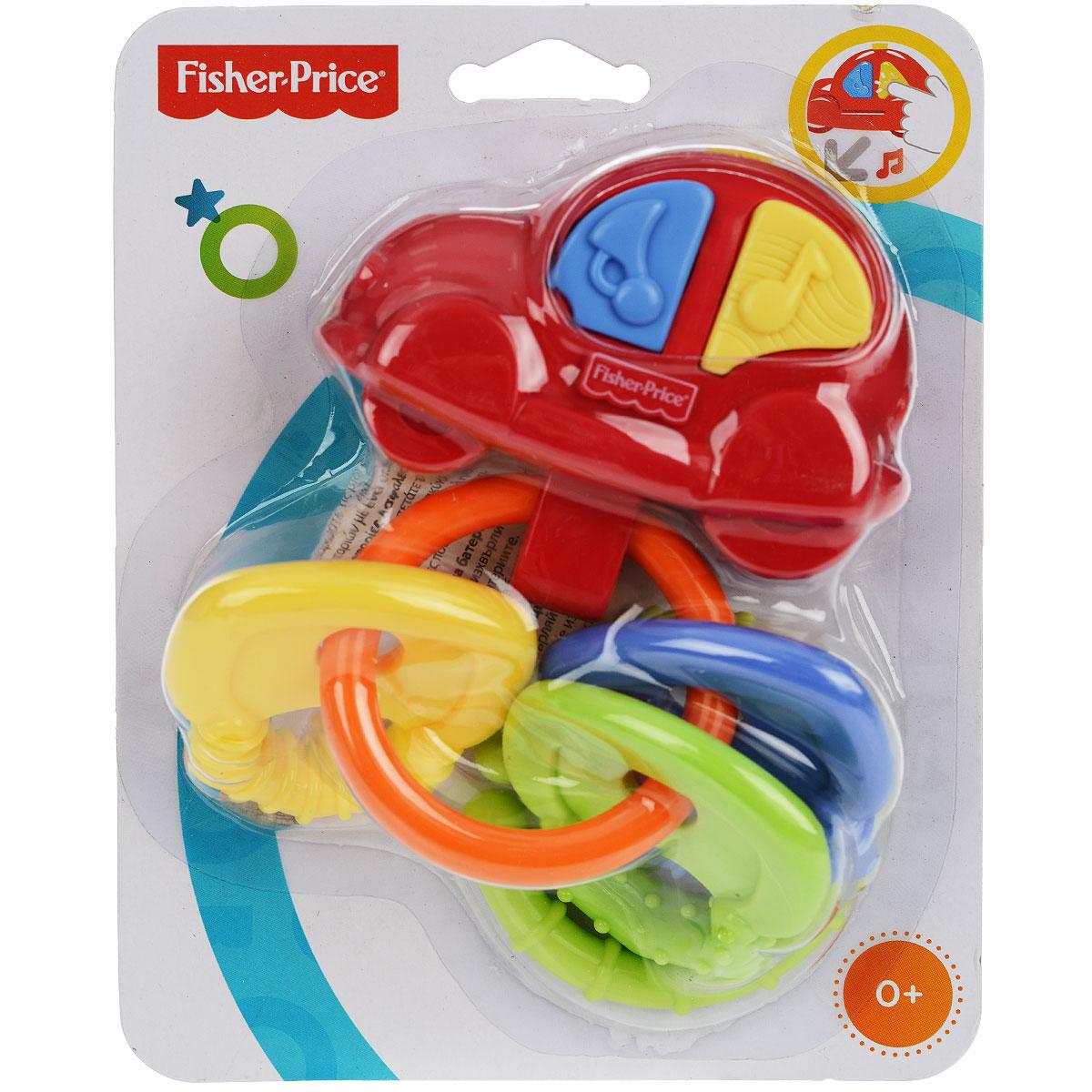 Fisher-Price Newborn Погремушка-прорезыватель Музыкальная машинкаG6648Яркая погремушка-прорезыватель Fisher-Price Музыкальная машинка не оставит вашего малыша равнодушным и не позволит ему скучать! Она выполнена из прочного безопасного пластика и представляет собой машинку, в нижней части которой крепится кольцо с тремя ключиками разных цветов. На корпусе машинки находятся две кнопки, при нажатии на которые малыш услышит автомобильный сигнал или веселую мелодию. Ключики имеют рельефные края, малыш может их использовать как прорезыватели. Игрушку с помощью пластикового кольца можно подвесить на кроватку, коляску, кресло или игровую дугу ребенка. Погремушка Музыкальная машинка поможет малышу развить цветовое и звуковое восприятие, мелкую моторику рук и координацию движений. Характеристики: Рекомендуемый возраст: от 0 месяцев. Высота игрушки: 16 см. Размер упаковки: 14 см х 18 см х 5 см.