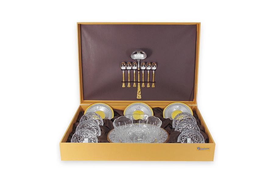 Набор для салата Dubai Gold/SilverGI3483-00ALМатериал: Хрусталь. Цвет: серебряный, золотой. Серия: Dubai.