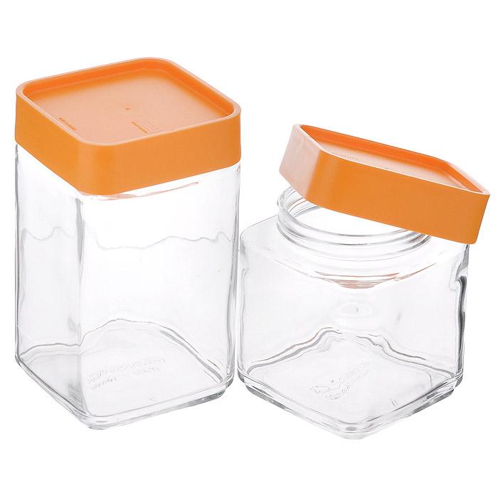 Набор контейнеров для сыпучих продуктов Glass Lock, с крышками, цвет: оранжевый, 2 штIG593Набор Glass Lock состоит из 2 квадратных контейнеров для сыпучих продуктов. Изделия выполнены из закаленного ударопрочного стекла, что гарантирует прочность и долгий срок службы. Материал изделий абсолютно экологичный и безопасный для здоровья, не содержит BPA (бисфенола), эстрогенов и диоксинов. Контейнеры оснащены пластиковыми крышками зеленого цвета с эффектом soft-Touch. Крышки плотно закрываются, обеспечивая герметичность и долгое сохранение свежести продуктов. Крышки имеют специальные выемки, благодаря чему контейнеры можно ставить друг на друга, что сэкономит много места на кухне. Кроме того, специальная форма изделий позволяет хранить их в дверце холодильника. Контейнеры подходят для хранения различных сыпучих продуктов: круп, специй, сахара, чая, кофе, орехов и других продуктов. Прозрачные стенки изделий позволяют видеть содержимое. Можно использовать в холодильнике и в морозильной камере. Подходят для чистки в посудомоечной машине. Нельзя использовать в...