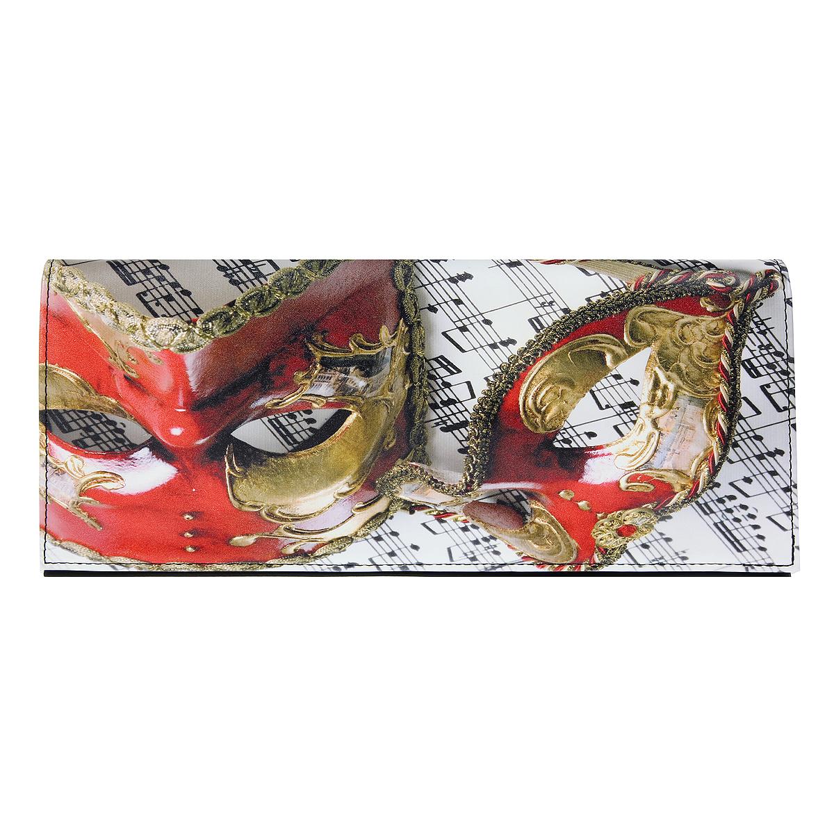Клатч Flioraj, цвет: черный, белый. 10184-41/5320/1070/60110184-41/5320/1070/601 маИзысканный и модный клатч Flioraj выполнен из искусственной кожи черно-белого цвета с изображением маски. Клатч застегивается клапаном на магнитные кнопки и на молнию. Внутри расположено - два отделения, разделенные по середине отдельным карманом на молнии, накладной карман для мелочей. К клатчу прилагаются два съемных ремня. Такой клатч станет идеальным дополнением к весеннему настроению.
