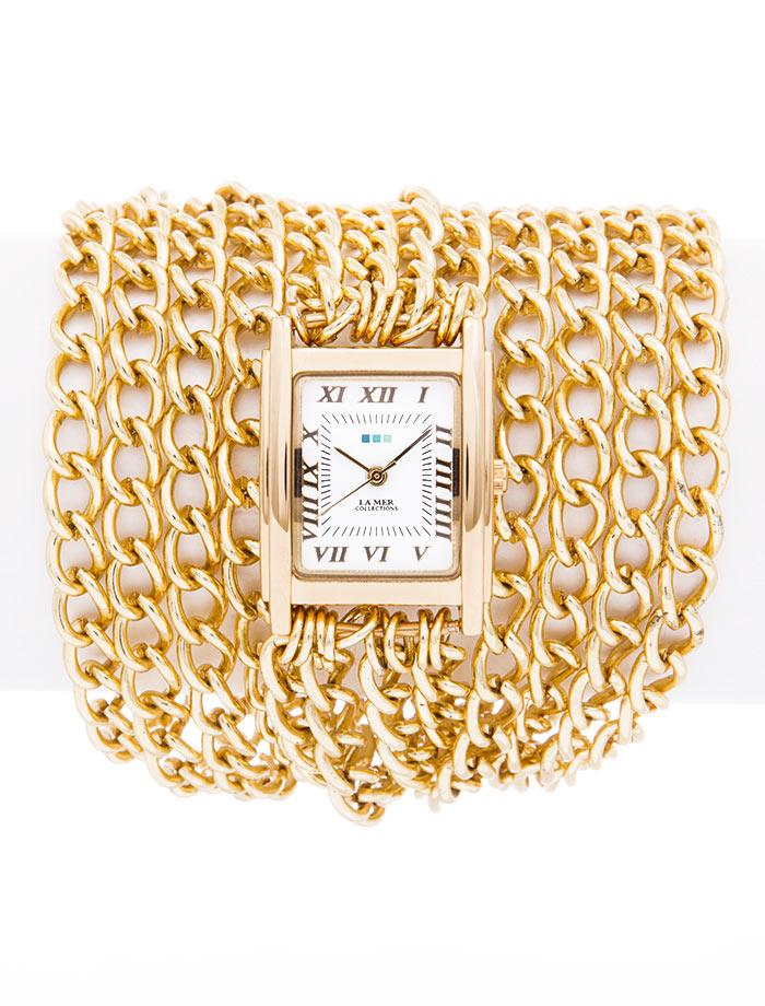Часы наручные женские La Mer Collections Chain All Wrap Gold. LMACW5001LMACW5001Часы оснащены японским кварцевым механизмом. Корпус прямоугольной формы выполнен из нержавеющей стали золотистого цвета. Оригинальный ремешок в виде цепочек золотистого цвета. Каждая модель женских наручных часов La Mer Collections имеет эксклюзивный дизайн, в основу которого положено необычное сочетание классических циферблатов с удлиненными кожаными ремешками. Оборачиваясь вокруг запястья несколько раз, они образуют эффект кожаного браслета, превращая часы в женственный аксессуар, который великолепно дополнит другие аксессуары и весь образ в целом. Дизайн La Mer Collections отвечает всем последним тенденциям моды и превосходно сочетается с модными сумками, ремнями, обувью и другими элементами гардероба современных девушек. Часы La Mer - это еще и отличный подарок любимой девушке, сестре или подруге на день рождения, восьмое марта или новый год!