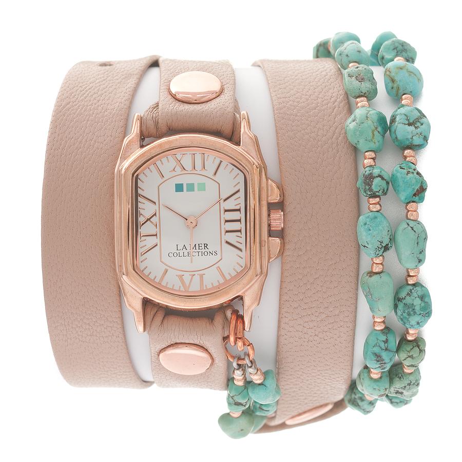 Часы наручные женские La Mer Collections Stones Turquoise Nude-Rose. LMMULTI1003LMMULTI1003Часы оснащены японским кварцевым механизмом. Корпус прямоугольной формы выполнен из нержавеющей стали золотистого цвета. Оригинальный кожаный ремешок бежевого цвета отделан металлическими клепками и дополнен декоративными камнями. Каждая модель женских наручных часов La Mer Collections имеет эксклюзивный дизайн, в основу которого положено необычное сочетание классических циферблатов с удлиненными кожаными ремешками. Оборачиваясь вокруг запястья несколько раз, они образуют эффект кожаного браслета, превращая часы в женственный аксессуар, который великолепно дополнит другие аксессуары и весь образ в целом. Дизайн La Mer Collections отвечает всем последним тенденциям моды и превосходно сочетается с модными сумками, ремнями, обувью и другими элементами гардероба современных девушек. Часы La Mer - это еще и отличный подарок любимой девушке, сестре или подруге на день рождения, восьмое марта или новый год!