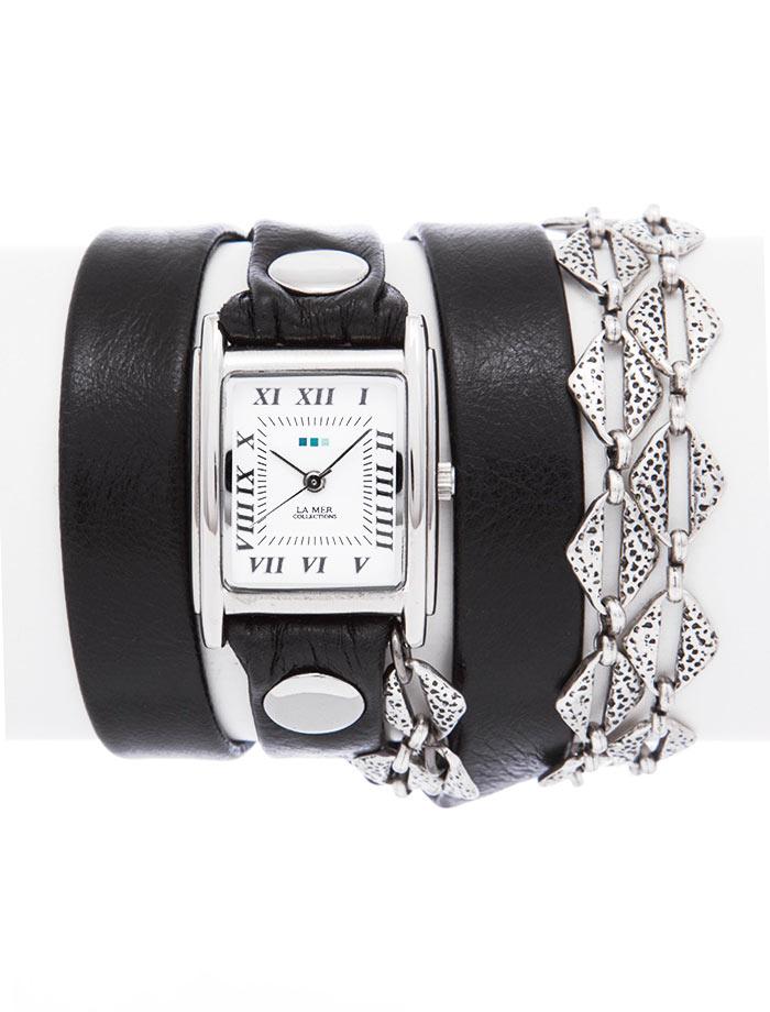 Часы наручные женские La Mer Collections Chain Silver Aztec. LMMULTI2017LMMULTI2017Часы оснащены японским кварцевым механизмом. Корпус прямоугольной формы выполнен из нержавеющей стали серебристого цвета. Оригинальный кожаный ремешок черного цвета отделан металлическими клепками и дополнен цепочкой. Каждая модель женских наручных часов La Mer Collections имеет эксклюзивный дизайн, в основу которого положено необычное сочетание классических циферблатов с удлиненными кожаными ремешками. Оборачиваясь вокруг запястья несколько раз, они образуют эффект кожаного браслета, превращая часы в женственный аксессуар, который великолепно дополнит другие аксессуары и весь образ в целом. Дизайн La Mer Collections отвечает всем последним тенденциям моды и превосходно сочетается с модными сумками, ремнями, обувью и другими элементами гардероба современных девушек. Часы La Mer - это еще и отличный подарок любимой девушке, сестре или подруге на день рождения, восьмое марта или новый год!