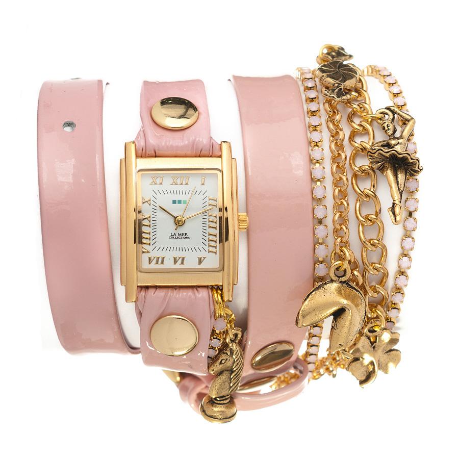 Часы наручные женские La Mer Collections Charm Ballerina. LMMULTI9003LMMULTI9003Часы оснащены японским кварцевым механизмом. Корпус прямоугольной формы выполнен из нержавеющей стали золотистого цвета. Оригинальный кожаный ремешок розового цвета отделан металлическими клепками и дополнен связкой цепочек. Каждая модель женских наручных часов La Mer Collections имеет эксклюзивный дизайн, в основу которого положено необычное сочетание классических циферблатов с удлиненными кожаными ремешками. Оборачиваясь вокруг запястья несколько раз, они образуют эффект кожаного браслета, превращая часы в женственный аксессуар, который великолепно дополнит другие аксессуары и весь образ в целом. Дизайн La Mer Collections отвечает всем последним тенденциям моды и превосходно сочетается с модными сумками, ремнями, обувью и другими элементами гардероба современных девушек. Часы La Mer - это еще и отличный подарок любимой девушке, сестре или подруге на день рождения, восьмое марта или новый год!