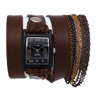 Часы наручные женские La Mer Collections Сhain Florence Brown. LMMULTICW1017xLMMULTICW1017xЧасы оснащены японским кварцевым механизмом. Корпус прямоугольной формы выполнен из нержавеющей стали черного цвета. Оригинальный кожаный ремешок коричневого цвета отделан металлическими клепками и дополнен связкой цепочек. Каждая модель женских наручных часов La Mer Collections имеет эксклюзивный дизайн, в основу которого положено необычное сочетание классических циферблатов с удлиненными кожаными ремешками. Оборачиваясь вокруг запястья несколько раз, они образуют эффект кожаного браслета, превращая часы в женственный аксессуар, который великолепно дополнит другие аксессуары и весь образ в целом. Дизайн La Mer Collections отвечает всем последним тенденциям моды и превосходно сочетается с модными сумками, ремнями, обувью и другими элементами гардероба современных девушек. Часы La Mer - это еще и отличный подарок любимой девушке, сестре или подруге на день рождения, восьмое марта или новый год!