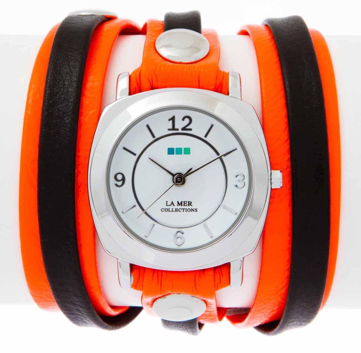 Часы наручные женские La Mer Collections Layer Odyssey Neon Orange Black. LMODYLY002LMODYLY002Часы оснащены японским кварцевым механизмом. Корпус круглой формы выполнен из нержавеющей стали серебристого цвета. Оригинальный кожаный ремешок черного и оранжевого цветов отделан металлическими клепками. Каждая модель женских наручных часов La Mer Collections имеет эксклюзивный дизайн, в основу которого положено необычное сочетание классических циферблатов с удлиненными кожаными ремешками. Оборачиваясь вокруг запястья несколько раз, они образуют эффект кожаного браслета, превращая часы в женственный аксессуар, который великолепно дополнит другие аксессуары и весь образ в целом. Дизайн La Mer Collections отвечает всем последним тенденциям моды и превосходно сочетается с модными сумками, ремнями, обувью и другими элементами гардероба современных девушек. Часы La Mer - это еще и отличный подарок любимой девушке, сестре или подруге на день рождения, восьмое марта или новый год!