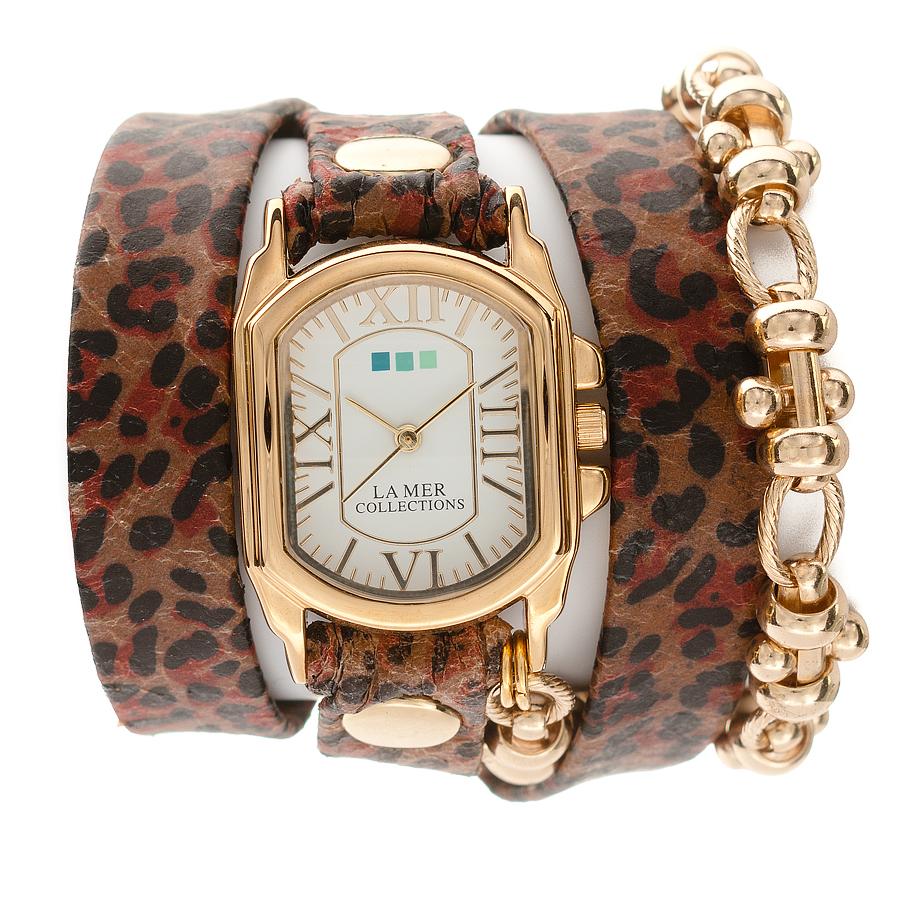 Часы наручные женские La Mer Collections Charm Indian Leopard - Gold Barbell. LMSCW2000LMSCW2000Часы оснащены японским кварцевым механизмом. Корпус прямоугольной формы выполнен из нержавеющей стали золотистого цвета. Оригинальный кожаный ремешок коричневого цвета в черную крапинку отделан металлическими клепками и дополнен цепочкой. Каждая модель женских наручных часов La Mer Collections имеет эксклюзивный дизайн, в основу которого положено необычное сочетание классических циферблатов с удлиненными кожаными ремешками. Оборачиваясь вокруг запястья несколько раз, они образуют эффект кожаного браслета, превращая часы в женственный аксессуар, который великолепно дополнит другие аксессуары и весь образ в целом. Дизайн La Mer Collections отвечает всем последним тенденциям моды и превосходно сочетается с модными сумками, ремнями, обувью и другими элементами гардероба современных девушек. Часы La Mer - это еще и отличный подарок любимой девушке, сестре или подруге на день рождения, восьмое марта или новый год!
