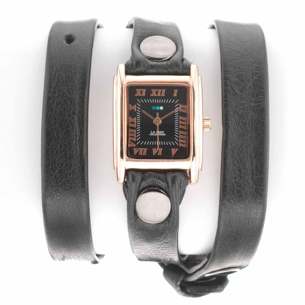 Zakazat.ru: Часы женские наручные La Mer Collections Simple Black Leather, Rose Gold. LMSTW5003