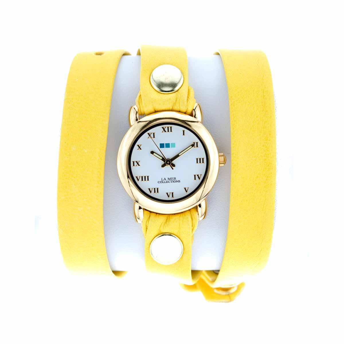 Zakazat.ru: Часы женские наручные La Mer Collections Simple Canary/Gold Circle. LMSTW5005x