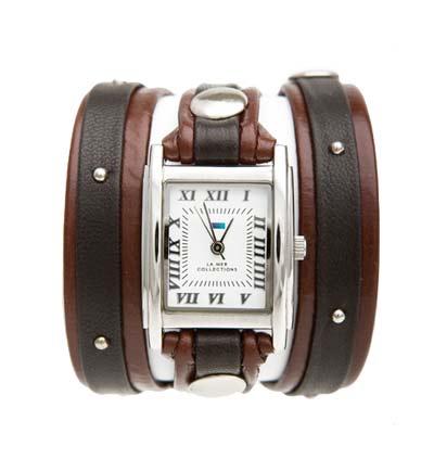 Часы наручные женские La Mer Collections Stud Brown/Chocolate. LMSW1004LMSW1004Часы оснащены японским кварцевым механизмом. Корпус прямоугольной формы выполнен из нержавеющей стали серебристого цвета. Оригинальный кожаный ремешок коричневого цвета отделан металлическими клепками. Каждая модель женских наручных часов La Mer Collections имеет эксклюзивный дизайн, в основу которого положено необычное сочетание классических циферблатов с удлиненными кожаными ремешками. Оборачиваясь вокруг запястья несколько раз, они образуют эффект кожаного браслета, превращая часы в женственный аксессуар, который великолепно дополнит другие аксессуары и весь образ в целом. Дизайн La Mer Collections отвечает всем последним тенденциям моды и превосходно сочетается с модными сумками, ремнями, обувью и другими элементами гардероба современных девушек. Часы La Mer - это еще и отличный подарок любимой девушке, сестре или подруге на день рождения, восьмое марта или новый год!