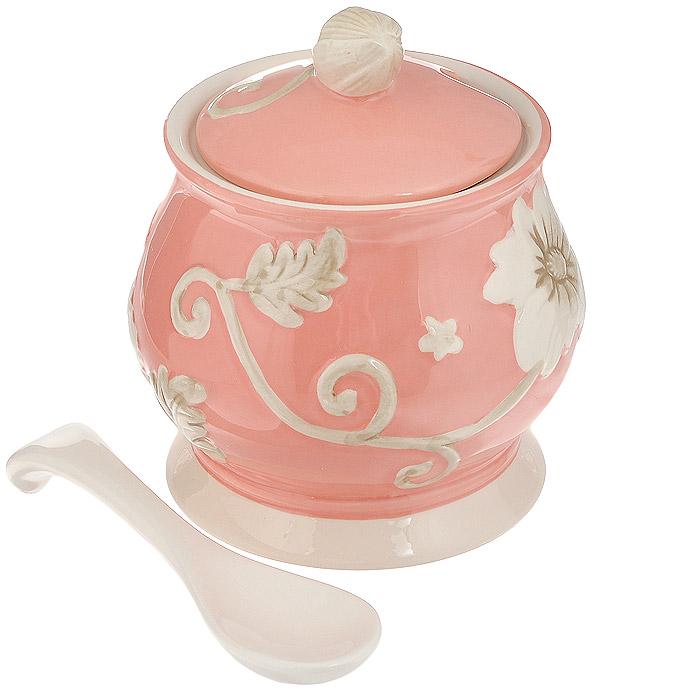 Сахарница Loraine Розы, с ложкой, цвет: розовыйMN22450 розовыйСахарница Loraine Розы с ложкой, изготовленная из высококачественной керамики розового цвета оформлена выпуклым узором роз и бабочек. Красочность оформления придется по вкусу и ценителям классики, и тем, кто предпочитает утонченность и изящность. Эксклюзивный дизайн, эстетичность и функциональность сахарницы Loraine Розы делает ее незаменимой на любой кухне. Может использоваться в микроволновой печи. Не боится низких температур и посудомоечной машины. Характеристики: Материал: керамика. Объем сахарницы: 550 мл. Диаметр по верхнему краю: 9,5 см. Диаметр основания сахарницы: 10 см. Размер сахарницы: 12 см х 12 см х 14 см. Длина ложки: 13,5 см. Размер упаковки: 11,5 см х 11,7 см х 13,5 см. Артикул: MN22450.