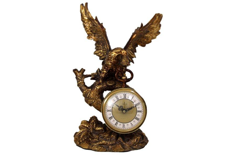 Часы настольные ОрелLI-1313AGE-ALМатериал: Полистоун. Цвет: бронзовый. Серия: Часы. Размер товара: 31х20х48. Размер упаковки: 36х25х58.