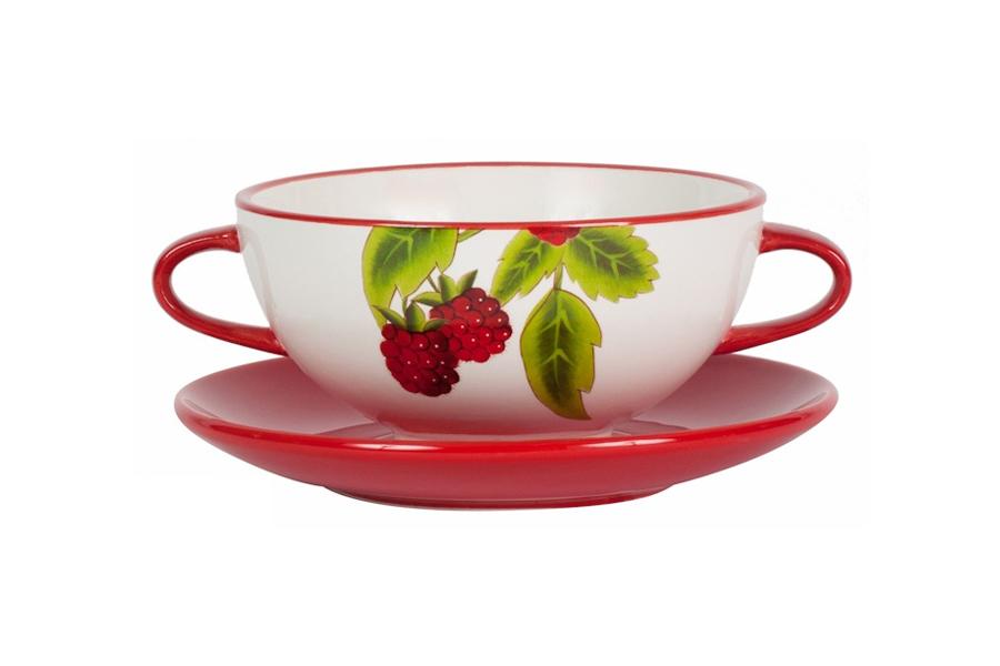 Суповая чашка Infinity Малина на блюдце, 400 млINFEX-OH427-R-ALСуповая чашка Infinity Малина, изготовленная из высококачественной керамики, предназначена для порционной подачи супов, бульонов, а также каш, мюсли, хлопьев и т.д. Чашка оформлена красочным изображением малины. Она оснащена двумя небольшими ручками. К чашке прилагается круглое блюдце. Суповая чашка Infinity украсит ваш обеденный стол и привнесет в интерьер уют. Посуду можно использовать в СВЧ и мыть в посудомоечной машине.