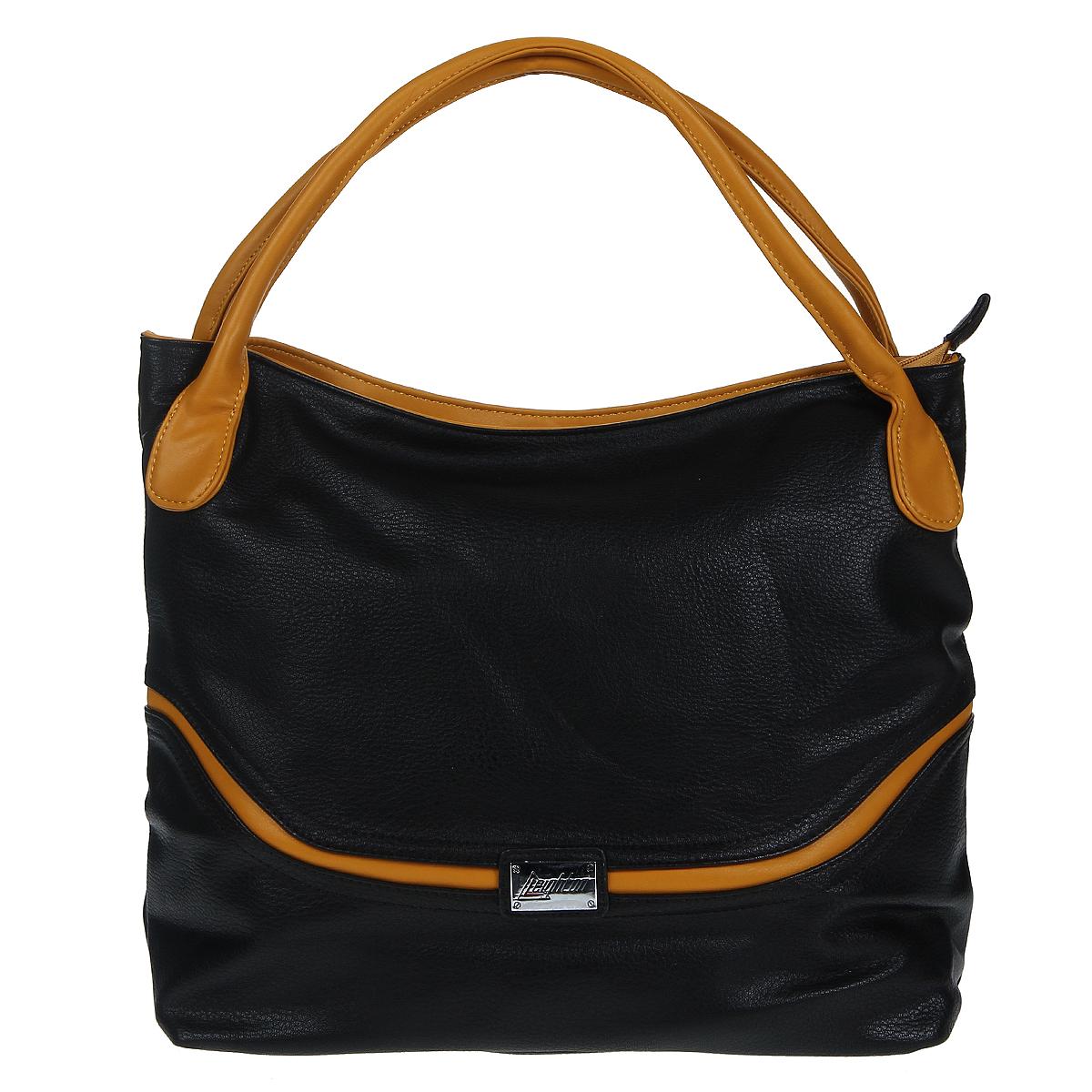 Сумка женская Leighton, цвет: черный, желтый. 76520-149/1/1166/80576520-149/1/1166/805Стильная сумка Leighton выполнена из искусственной кожи черного цвета с желтыми вставками. Сумка имеет одно вместительное отделение, закрывающееся на молнию. Внутри - смежный карман на молнии, вышитый карман на молнии и два накладных кармана. На задней стенке - дополнительный карман на молнии. Сумка оснащена двумя ручками. Фурнитура серебристого цвета. Модная сумка подчеркнет ваш яркий стиль и сделает образ модным и завершенным. Характеристики: Материал: искусственная кожа, металл, текстиль. Цвет: черный, желтый. Размер сумки: 38 см х 30 см х 13 см. Высота ручек: 19 см. Артикул: 76520-149/1/1166/805.