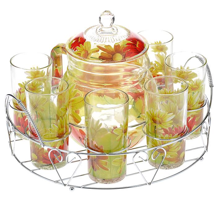 Набор для воды Bekker, 8 предметовBK-5804Набор для воды Bekker, выполненный из высококачественного стекла, состоит из шести высоких стаканов и графина с крышкой. Набор выполнен в элегантном дизайне с рисунком в виде цветов желто-красного цвета. Предметы набора располагаются на изящной металлической подставке с двумя ручками. Благодаря такому набору пить напитки будет еще вкуснее. Набор для воды Bekker украсит сервировку стола, а также станет отличным подарком на любой праздник. Предметы набора можно мыть в посудомоечной машине.