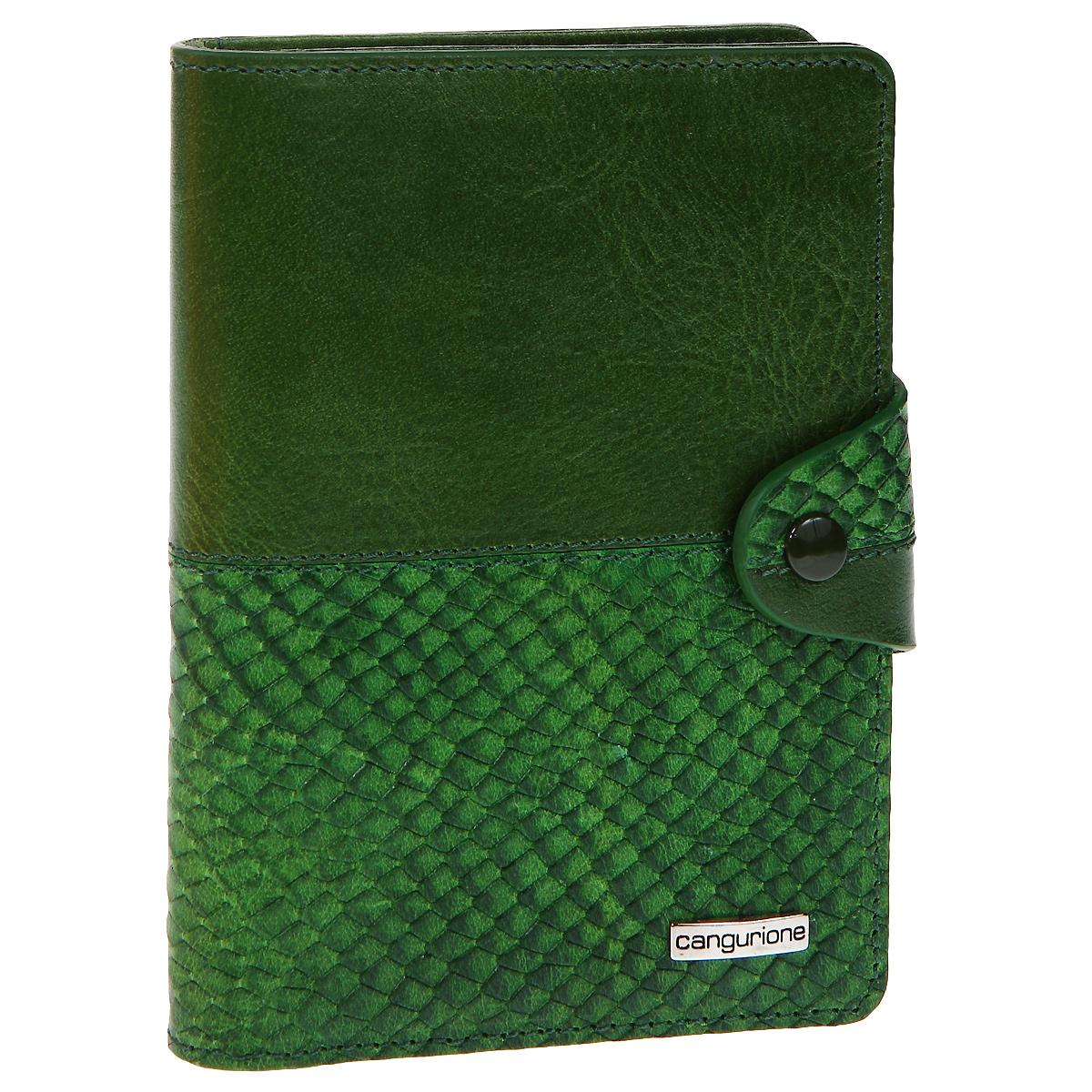Обложка для автодокументов Cangurione, цвет: зеленый. 3341-009 DP-ANC3341-009 DP-ANC/GreenОбложка для автодокументов Cangurione выполнена из натуральной кожи зеленого цвета с декоративным тиснением под крокодила. На внутреннем развороте - 4 кармашка для пластиковых и кредитных карт, потайное отделение, окошко для фотографии и два кармашка для документов. Обложка закрывается при помощи хлястика на кнопку. Обложка не только поможет сохранить внешний вид ваших документов и защитит их от повреждений, но и станет стильным аксессуаром, который подчеркнет ваш неповторимый стиль. Обложка упакована в коробку из плотного картона с логотипом фирмы.