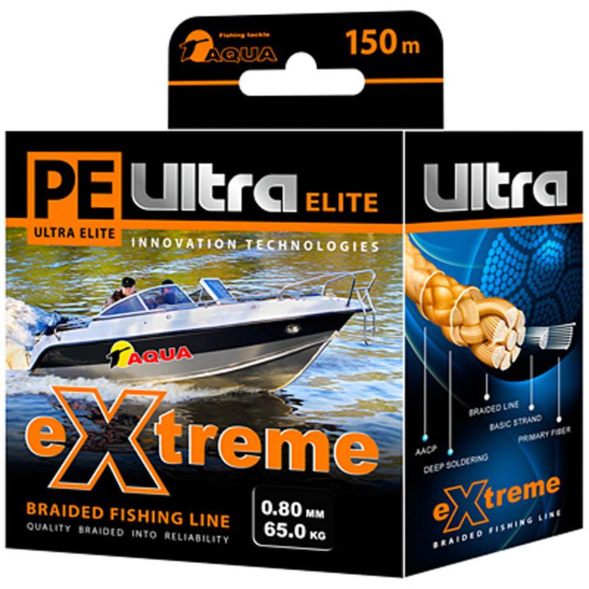 Плетеный шнур Aqua PE Ultra Elite Extreme, цвет: черный, сечение 0,8 мм, длина 150 м121191Серия плетенных шнуров PE ULTRA ELITE EXTREME для экстремальной рыбалки изготовлена из 100% материала UHMW PE (ультра-высокомолекулярный пространственно-ориентированный полиэтилен). Эта серия идеально круглых шнуров из восьми нитей для самых требовательных рыболовов, не готовых идти ни на какие компромиссы в вопросах выбора снастей, и самой крупной рыбы не прощающей ошибок в выборе шнура. PRIMARY FIBER - первичное волокно диаметром 0,85 микрона. BASIC STRAND - основная нить, состоящая из 30-160 первичных волокон. BRAIDED LINE - плетеный шнур, состоящий из 8 основных нитей. DEEP SOLDERING - запатентованная система пропитки и покраски. AACP (Anti-Abrasive Coated Protection) - финишной покрытие, защищающее шнур от любого нежелательного механического воздействия.