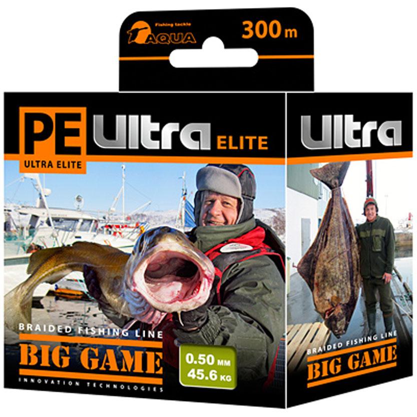 Плетеный шнур Aqua PE Ultra Elite Big Game, цвет: оливковый, сечение 0,5 мм, длина 300 м121193Серия плетеных шнуров PE ULTRA ELITE BIG GAME для экстремальной морской рыбалки изготовлена из 100% материала UHMW PE (ультра-высокомолекулярный пространственно-ориентированный полиэтилен). Эта серия идеально круглых шнуров из восьми нитей для самых требовательных рыболовов, не готовых идти ни на какие компромиссы в вопросах выбора снастей, и самой крупной рыбы не прощающей ошибок в выборе шнура. PRIMARY FIBER - первичное волокно диаметром 0,85 микрона. BASIC STRAND - основная нить, состоящая из 30-160 первичных волокон. BRAIDED LINE - плетеный шнур, состоящий из 8 основных нитей. DEEP SOLDERING SEA - запатентованная система пропитки и покраски с дополнительной защитой для морской воды. AACP (Anti-Abrasive Coated Protection) - финишной покрытие, защищающее шнур от любого нежелательного механического воздействия.