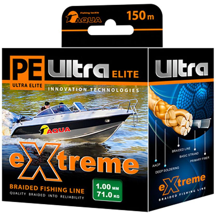 Плетеный шнур Aqua PE Ultra Elite Extreme, цвет: зеленый, сечение 1 мм, длина 150 м121206Серия плетенных шнуров PE ULTRA ELITE EXTREME для экстремальной рыбалки изготовлена из 100% материала UHMW PE (ультра-высокомолекулярный пространственно-ориентированный полиэтилен). Эта серия идеально круглых шнуров из восьми нитей для самых требовательных рыболовов, не готовых идти ни на какие компромиссы в вопросах выбора снастей, и самой крупной рыбы не прощающей ошибок в выборе шнура. PRIMARY FIBER - первичное волокно диаметром 0,85 микрона. BASIC STRAND - основная нить, состоящая из 30-160 первичных волокон. BRAIDED LINE - плетеный шнур, состоящий из 8 основных нитей. DEEP SOLDERING - запатентованная система пропитки и покраски. AACP (Anti-Abrasive Coated Protection) - финишной покрытие, защищающее шнур от любого нежелательного механического воздействия.