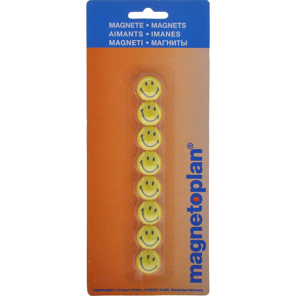 Магнит Смайл, цвет: желтый, 8 шт16671Оригинальные магниты Смайл не позволят потерять важную идею при проведении семинаров, мозговых штурмов или презентаций. Магниты круглой формы, оформленные изображением улыбающегося смайла, не только помогут надежно прикрепить листы бумаги к любой железной или стальной поверхности, но и поднимут настроение окружающим. В наборе восемь магнитов желтого цвета. Характеристики: Материал: пластик, магнит. Размер магнита (ДхШхВ): 2 см х 2 см х 1,5 см. Размер упаковки (ДхШхВ): 10 см х 24 см х 1,5 см.