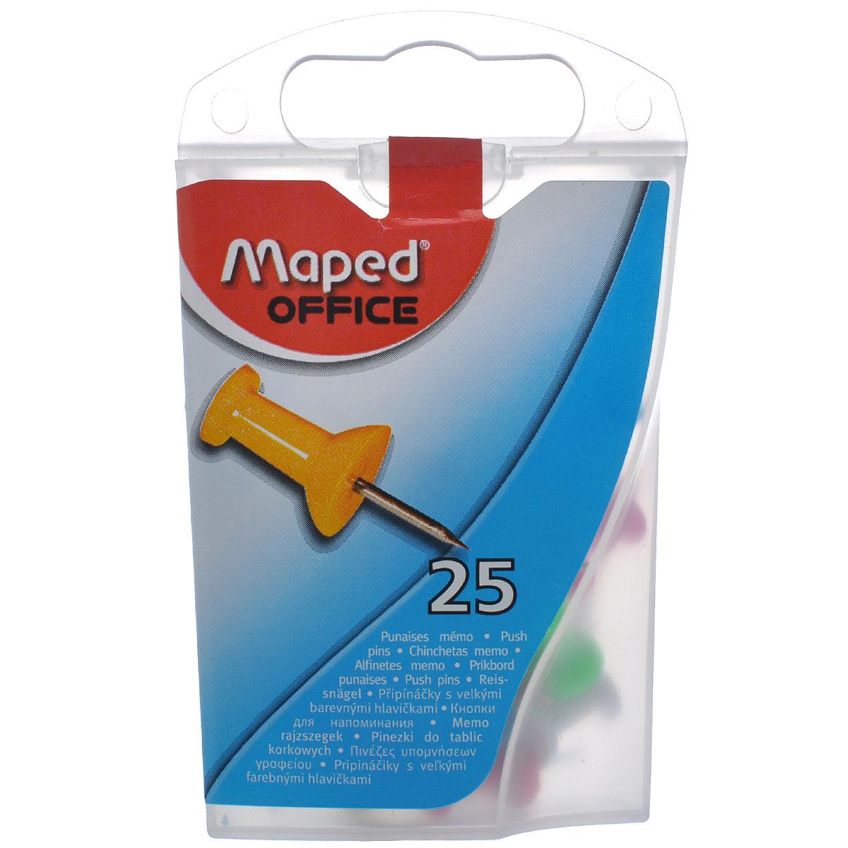 Кнопки-гвоздики канцелярские Maped, цветные, 25 шт345011Канцелярские кнопки-гвоздики Maped предназначены для крепления информации к пробковым досками и другим поверхностям, удобны для маркировки. Кнопки изготовлены из высококачественного металла с удобными цветными держателями и упакованы в пластиковую коробку с европодвесом. В наборе 25 кнопок-гвоздиков с держателями желтого, красного, белого, розового и голубого цветов. Цветные канцелярские кнопки Maped разбавят строгую офисную обстановку яркими цветами и поднимут настроение. Характеристики: Материал: пластик, металл. Размер кнопки (ДхШхВ): 2,3 см х 0,8 см х 0,8 см. Количество: 25 шт. Размер упаковки (ДхШхВ): 9 см х 5,5 см х 2,5 см.