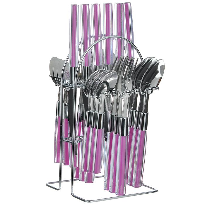 Набор столовых приборов Mayer & Boch, цвет: розовый, 25 предметов. MN22492-1MN22492-1Набор столовых приборов Mayer & Boch выполнен из прочной полированной нержавеющей стали и высококачественного пластика. В набор входят 6 столовых ложек, 6 вилок, 6 чайных ложек и 6 ножей. Приборы имеют прозрачные пластиковые ручки с вставками розового цвета. Прекрасное сочетание яркого дизайна и удобства использования предметов набора придется по душе каждому. Изделия расположены на металлической подставке, что удобно для хранения набора прямо на столе или столешнице. Набор столовых приборов Mayer & Boch подойдет как для ежедневного использования, так и для торжественных случаев. Характеристики: Материал: нержавеющая сталь, пластик. Цвет: розовый. Длина ножа: 22,5 см. Длина столовой ложки: 20 см. Длина вилки: 21 см. Длина чайной ложки: 16,5 см. Размер подставки (Д х Ш х В): 13 см x 12 см x 24 см. Размер упаковки: 15 см x 13,5 см x 28 см. Артикул: MN22492-1.