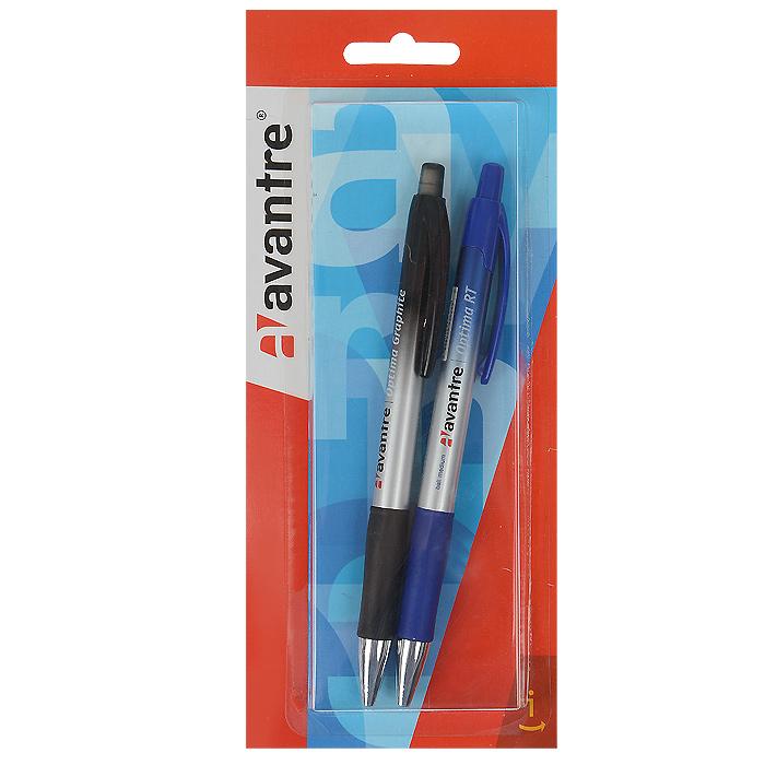 Набор ручек Avantre Optima RT, 2 предметаBP17SETКанцелярский набор Avantre Optima RT станет незаменимым аксессуаром на рабочем столе не только школьника или студента, но и офисного работника. В наборе шариковая автоматическая ручка с чернилами синего цвета и механический карандаш. Корпус ручки выполнен из пластика синего и серебристого цветов и дополнен резиновым упором в области захвата, который исключит скольжение пальцев во время работы. Высококачественные чернила позволяют добиться идеальной плавности письма. Ручка оснащена клип-зажимом. Подача стержня осуществляется путем нажатия на кнопку в верхней части ручки. Корпус карандаша выполнен из пластика черного и серебристого цветов и дополнен резиновым упором в области захвата, который исключит скольжение пальцев во время работы. Карандаш оснащен ластиком, защищенным полупрозрачным колпачком. Он всегда идеально острый - толщина его грифеля 0,5 мм. Для удобства металлический узел карандаша убирается внутрь вместе с грифелем. Avantre создает канцелярские...