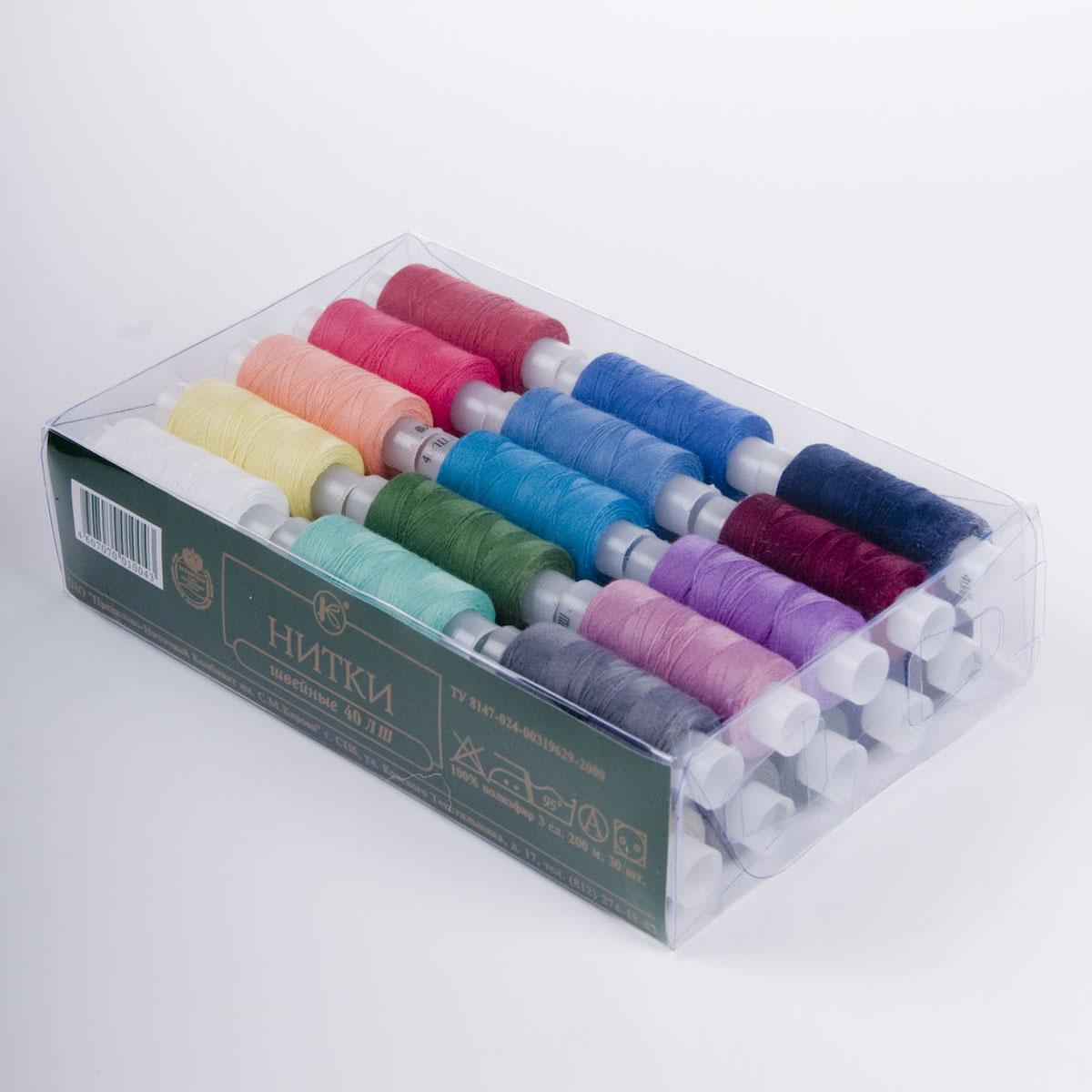 Набор швейных ниток, 40 ЛШ, 200 м, 30 бобин0047304601778Набор состоит из 30 бобин со швейными нитками разных цветов. Нитки изготовлены из 100% полиэфира. Характеристики: Количество сложений: 3. Линейная плотность: 42 текс.