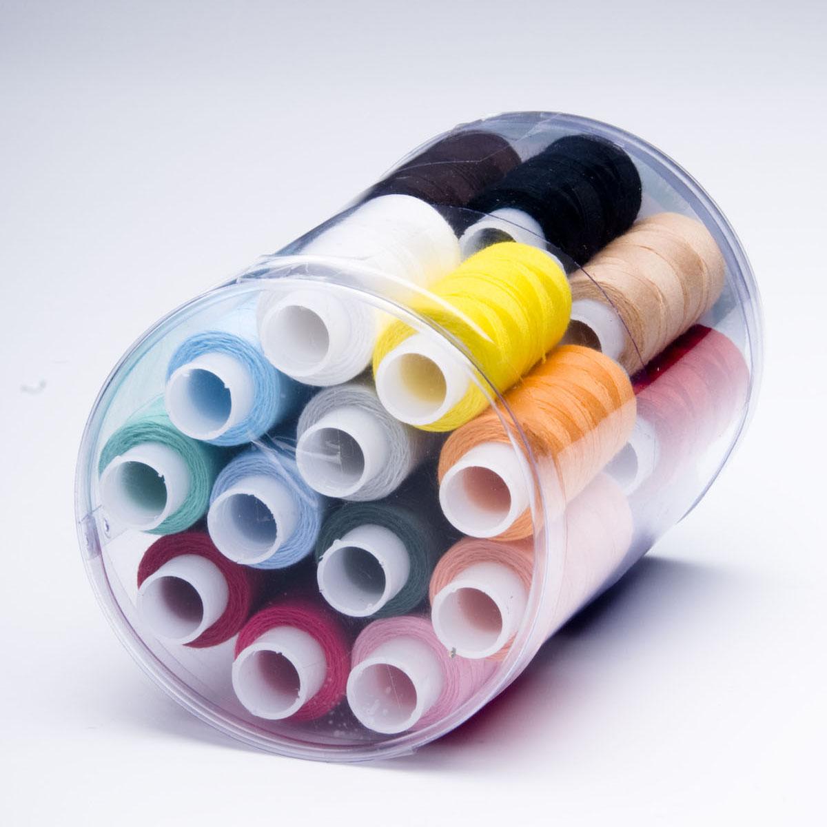 Набор швейных ниток Радуга, 45 ЛЛ, 150 м, 24 бобины0073704601778Набор состоит из 24 бобин со швейными нитками разных цветов. Нитки изготовлены из 100% полиэфира, армированные. Характеристики: Количество сложений: 2. Линейная плотность: 43,5 текс.